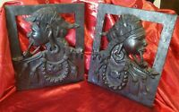 2 Wooden Hand Carved Pirate Native Face Pipe Earring Wall Hangings Art Den Decor