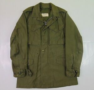 VTG US Army Men XS Field Coat Jacket M-1951 Sateen Og-107 Military Green 50s