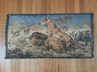 """Vintage Tapestry Wall Hanging Lion Lioness 39"""" x 21"""" Italy"""
