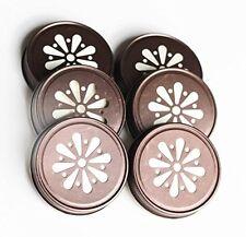 Solid Cut Regular Daisy Metal Mason Jar Sip Drink Lids x 6 Bronze Lids FREE SHIP