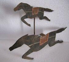 VINTAGE IRON TWIN HORSE WEATHER VANE / WEATHERVANE CUTOUT ORIGINAL PAINT