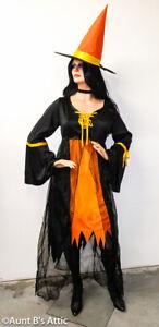 Witch Costume Quality 3Pc Blk/Orange Ladies Plus Size Dress Choker & Hat