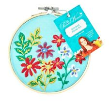 """The Pioneer Woman Stitched Floral Art color Teal size 5""""X5.5"""" in a Bamboo Hoop"""