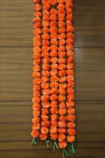 Set of 5 Pcs Marigold Garlands 5 Feet Long Indian Home Decoration Flower Orange