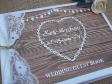 PERSONALISED VINTAGE WOOD WEDDING GUEST BOOK ~ RUSTIC LACE FESTOON HEARTS BOXED