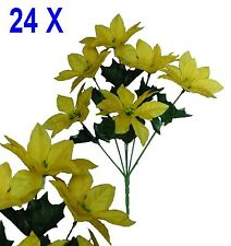 """Lot 24 Bushes 144 Yellow Poinsettias 14"""" Christmas Holiday Silk Flower Home Deco"""