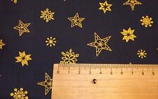 Rose and Hubble Christmas Fabric Blue with Gold Star - By the Half Metre