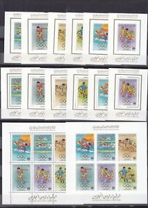 stamps LIBYA 1984 SC 1204 1209 LOS ANGELES OLYMPICS MNH DELUXE LOT #135