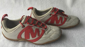 Merrell Women's Red  Grey Striker Goal Leather Casual Shoes Size US 7 UK 4 1/2