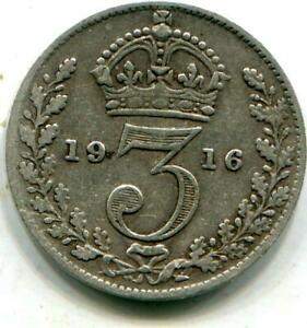 1916 Solid Sterling Silver Vintage Retro Threepence WW1 period George V C120