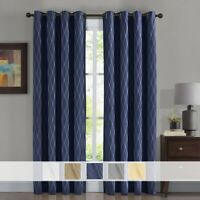 (Set Of 2) Victoria 100% Blackout Window Curtains Jacquard Heat & Light Blocking