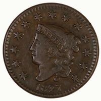 Raw 1827 Coronet Head 1C N-11 US Copper Large Cent Coin