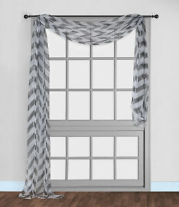 """1PC SCARF VALANCE TOPPER PRINTED VOILE SHEER WINDOW CURTAIN DRAPE(C37)37"""" X216""""L"""