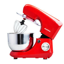 Aucma Electric Food Stand Mixer with 5.5L Mixing Bowl Splash Guard 6 Speeds Red