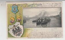 Präge Litho Dt. Marine Kriegschiffe Gruss aus Wilhelmshaven 1903