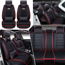 Universal Car Luxury Leather Seat Cover Front+Rear W/Pillow Gift For 5 Seats Set