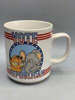 Vintage 1978 Garfield Coffee Mug Vote Republican Party Enesco Jim Davis