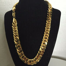 "18K SOLID GOLD FILLED CUBAN DOUBLE CURB CHAIN HEAVY MENS NECKLACE 23.6"" 10 mm"