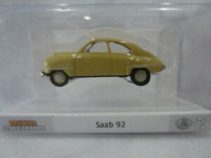 BREKINA 28604 vintage SAAB 92 COUPE in YELLOW Model is Plastic 1/87 / HO SCALE