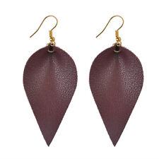 Leather Earrings Bohemian Leaf Drop Animal Print Black White Metalic Hot Wine Red - (gold)