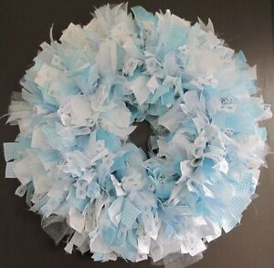 "Handmade Wreath 16"" White and Blue Ribbon Rag Fabric Nursery Girls Shabby Chic"