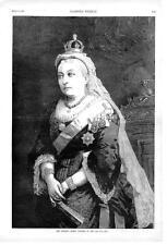 Her Majesty Queen Victoria   -  Royalty  -   Original Antique Print  -  1887