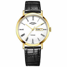 Rotary Genuine Leather Strap Round Wristwatches