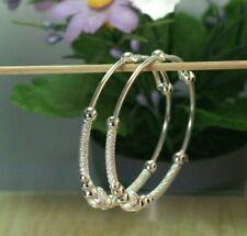 2 Bead Baby Girl Bangle Anklet Bracelet Adj 22K Thai Baht Dp White Gold ~ Set Of