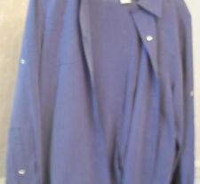 Cute Blue 2 Piece Pants Suit Size 8 By Casual Corner 100% Silk