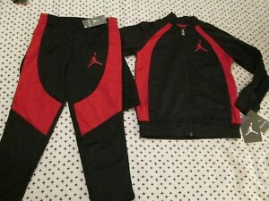 NEW 2Pc NIKE Air Jordan Boys TRACK SUIT OUTFIT Black&Red Size 7 FREE SHIPPING!