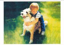 RARE DONALD ZOLAN little boy hugs dog unposted modern postcard