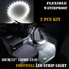 "2x 12"" Car Interior Footwell Under Dash Decor Atmosphere White LED Strip Light"