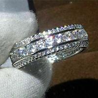 14k White Gold Finish 2.00 Ct Round Cut Diamond Wedding Band Women's Ring