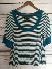 St John Blouse Top Large L Teal White Striped Short Sleeve Nautical Scoop Neck
