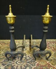 VINTAGE 40s-50s Federal Colonial Style Black Iron & Brass Urn Fireplace Andirons