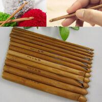 """Bamboo Handle Crochet Hook Knit Weave Yarn Craft Knitting Needle 12 PCS Set 6"""""""