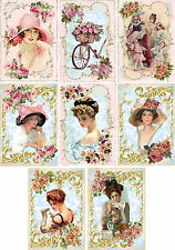 Vintage inspired pink ladies hats stationery set of 8 with organza bag