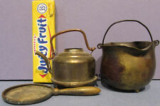 AUTHENTIC OLD * 3 BRASS & COPPER TOY KITCHEN UNTENSILS VERY CUTE + FREE SHIP T98