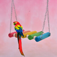 Bird Hanging Swing Toys Wood Parrot Parakeet Perches Finches Pets Accessories~QA
