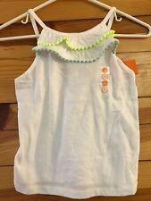 NWT Gymboree Girls Blue Safari White Neon Pom-Pom Ruffle Tank Top Shirt Size 8
