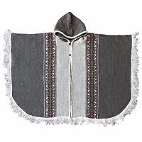 Llama Wool MENS UNISEX American Hooded Open Poncho Cloak Cape Coat Jacket Wrap
