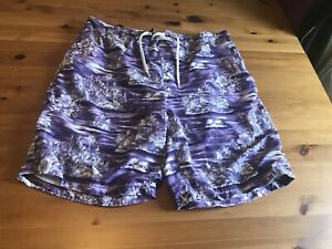 Primark Extra Large Mens Swim Shorts Purple White Tropical Print Pockets