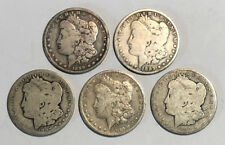 Lot of 5 Cull 1878-1904 $1 Morgan Silver Dollars, Pre 1921, 5 Coins, Mixed Dates
