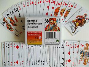 Romme Spielkarten Set 2 x 55 Blatt Karten Kartenspiel Französisches Blatt 2x55