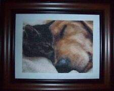 "COMPLETED COUNTED CROSS STITCH Dog+KittenFRAMED PICTURE 8"" x 10.5"""