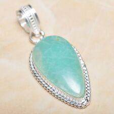 "Handmade Aquamarine Amazonite Jasper 925 Sterling Silver Pendant 2"" #P06815"