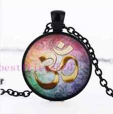 Gold Om Tarot Photo Cabochon Glass Black Chain Pendant Necklace