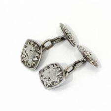 ornate Dragon and Scroll design Vintage sterling silver cufflinks with