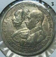 1915 A German States Mecklenberg-Schwerin 3 Mark - Tough Silver
