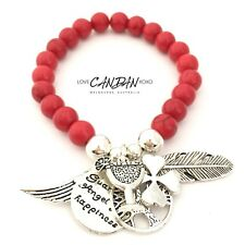 Red Clover Luck Guardian Angel Happiness Wine Cocktail Inspirational Bracelet